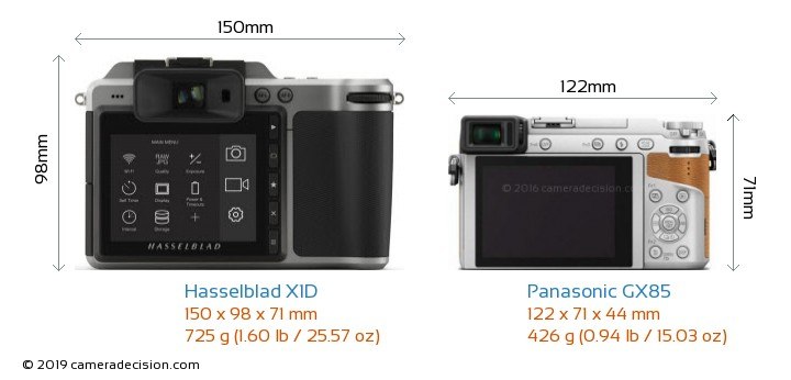 Hasselblad X1D vs Panasonic GX85 Camera Size Comparison - Back View