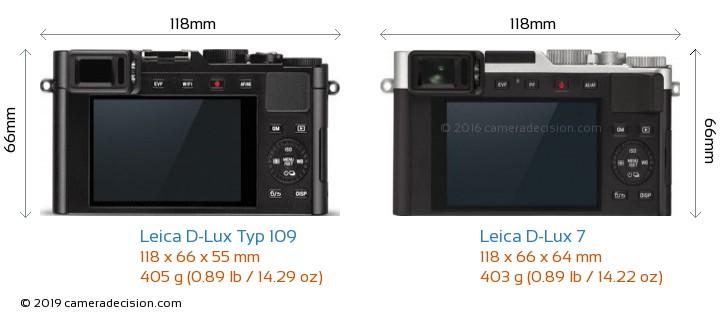 Leica D-Lux Typ 109 vs Leica D-Lux 7 Camera Size Comparison - Back View