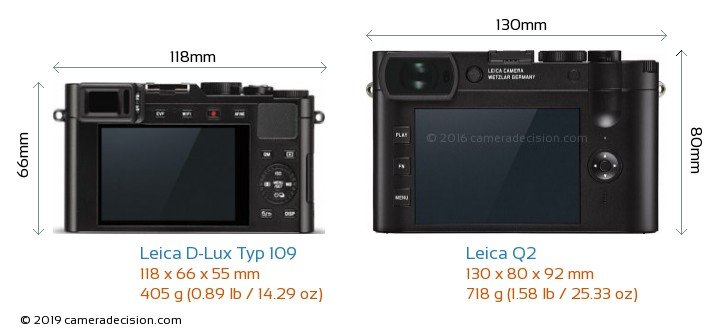 Leica D-Lux Typ 109 vs Leica Q2 Camera Size Comparison - Back View