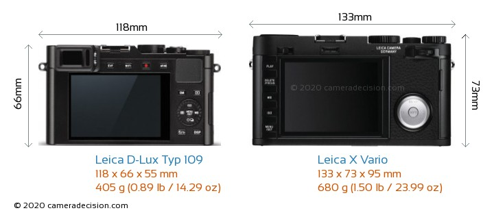 Leica D-Lux Typ 109 vs Leica X Vario Camera Size Comparison - Back View