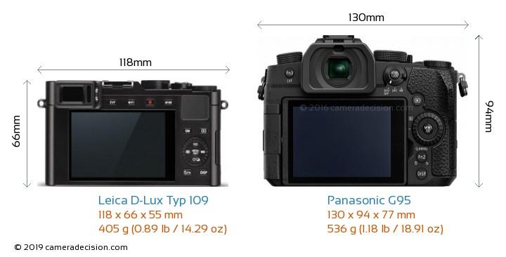 Leica D-Lux Typ 109 vs Panasonic G95 Camera Size Comparison - Back View