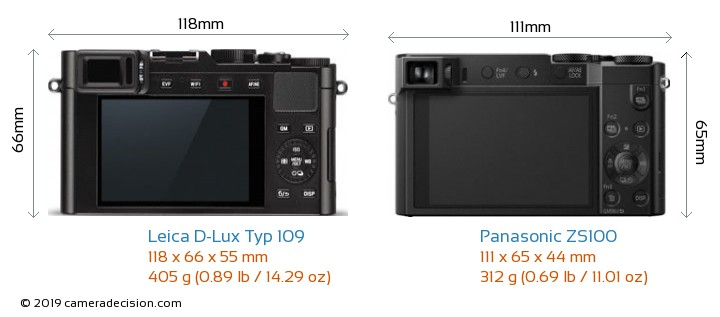 Leica D-Lux Typ 109 vs Panasonic ZS100 Camera Size Comparison - Back View