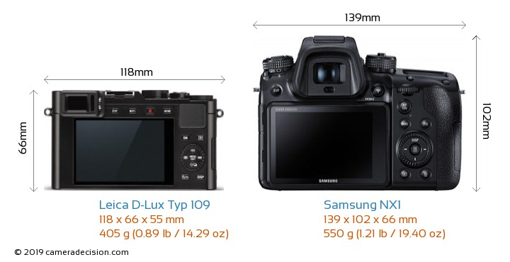 Leica D-Lux Typ 109 vs Samsung NX1 Camera Size Comparison - Back View