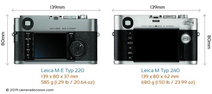 Leica M-E Typ 220 vs Leica M Typ 240 Camera Size Comparison - Back View