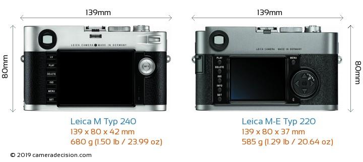Leica M Typ 240 vs Leica M-E Typ 220 Camera Size Comparison - Back View