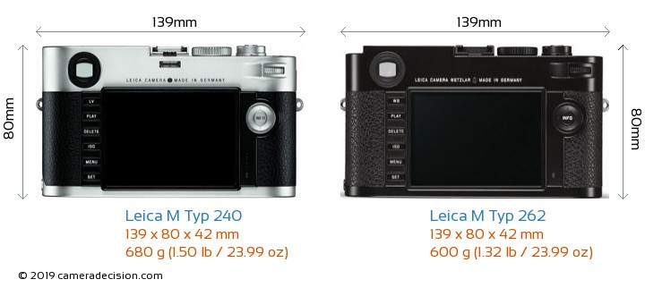 Leica M Typ 240 vs Leica M Typ 262 Camera Size Comparison - Back View