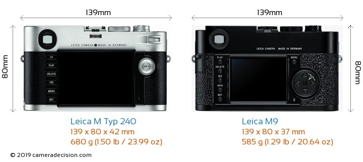 Leica M Typ 240 vs Leica M9 Camera Size Comparison - Back View