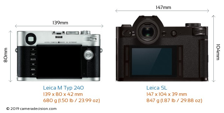 Leica M Typ 240 vs Leica SL Camera Size Comparison - Back View