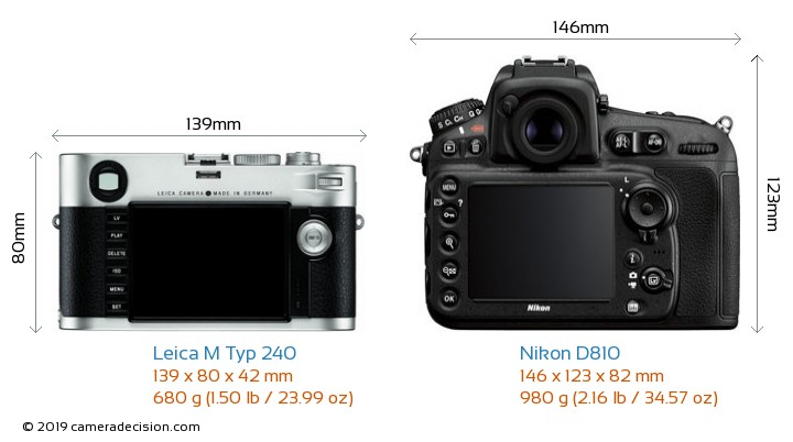Leica M Typ 240 vs Nikon D810 Camera Size Comparison - Back View
