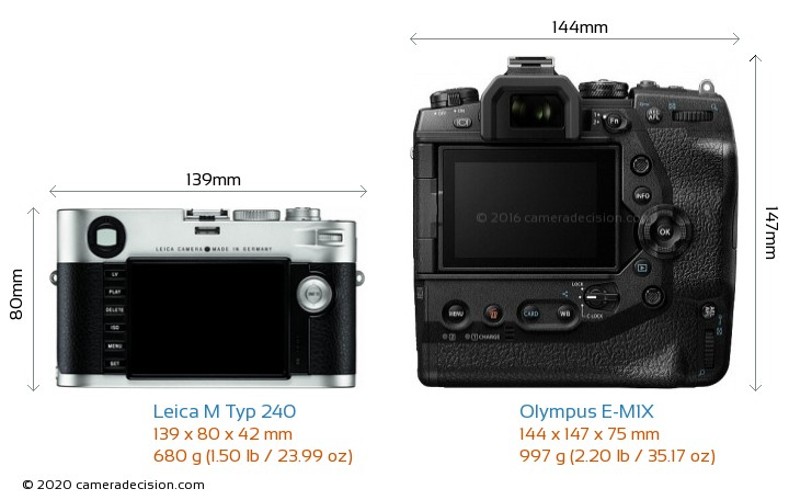 Leica M Typ 240 vs Olympus E-M1X Camera Size Comparison - Back View