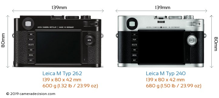 Leica M Typ 262 vs Leica M Typ 240 Camera Size Comparison - Back View
