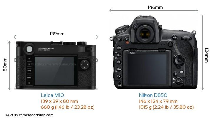 Leica M10 vs Nikon D850 Camera Size Comparison - Back View