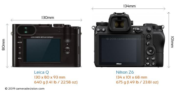 Leica Q vs Nikon Z6 Camera Size Comparison - Back View