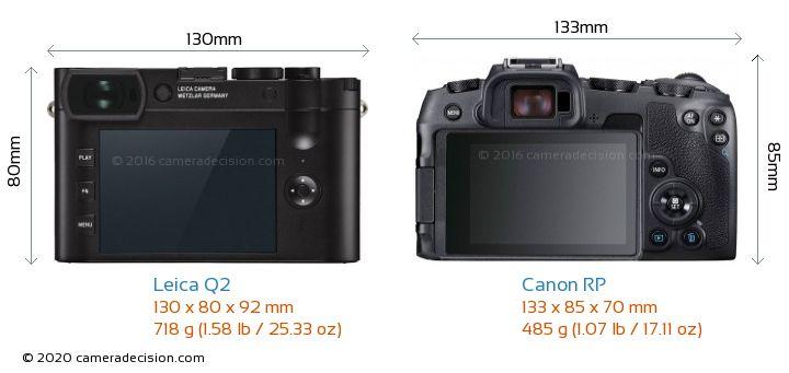 Leica Q2 vs Canon RP Camera Size Comparison - Back View