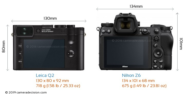 Leica Q2 vs Nikon Z6 Camera Size Comparison - Back View