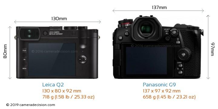 Leica Q2 vs Panasonic G9 Camera Size Comparison - Back View