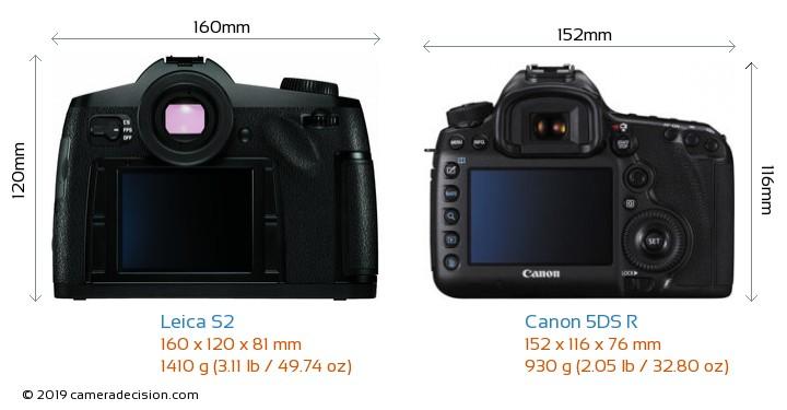 Leica S2 vs Canon 5DS R Camera Size Comparison - Back View