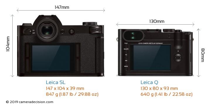 Leica SL vs Leica Q Camera Size Comparison - Back View