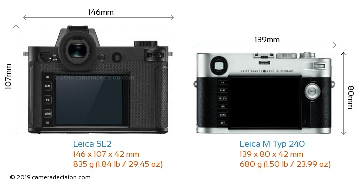 Leica SL2 vs Leica M Typ 240 Camera Size Comparison - Back View