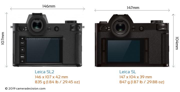 Leica SL2 vs Leica SL Camera Size Comparison - Back View