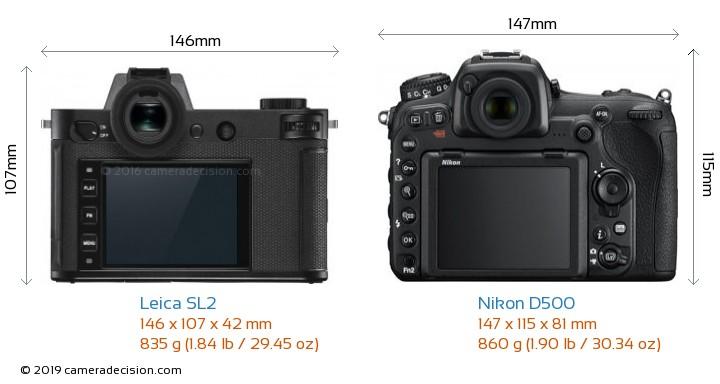 Leica SL2 vs Nikon D500 Camera Size Comparison - Back View