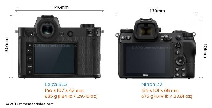 Leica SL2 vs Nikon Z7 Camera Size Comparison - Back View