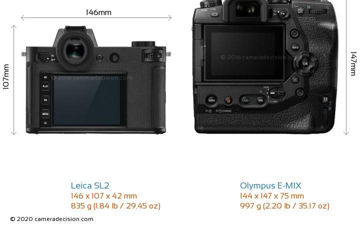 Leica SL2 vs Olympus E-M1X Camera Size Comparison - Back View