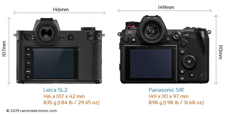Leica SL2 vs Panasonic S1R Camera Size Comparison - Back View
