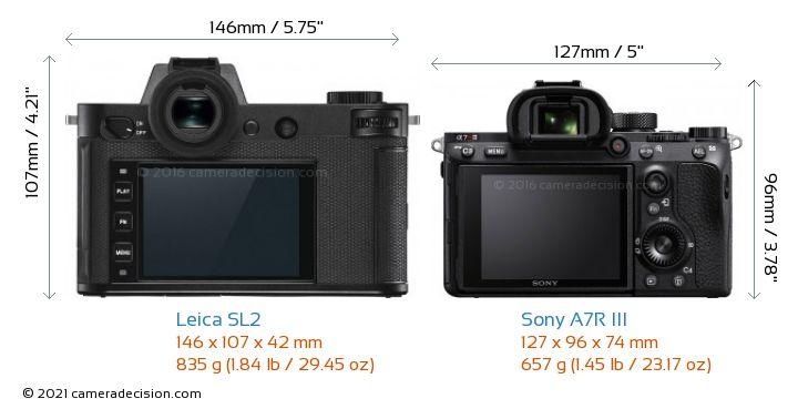 Leica SL2 vs Sony A7R III Camera Size Comparison - Back View