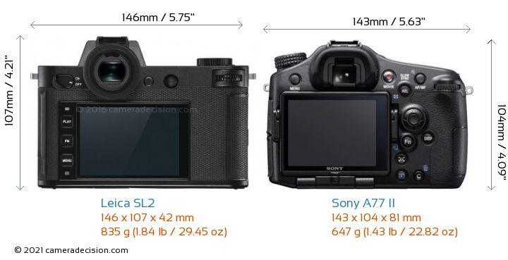 Leica SL2 vs Sony A77 II Camera Size Comparison - Back View