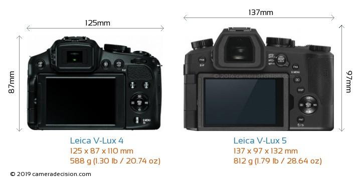 Leica V-Lux 4 vs Leica V-Lux 5 Camera Size Comparison - Back View