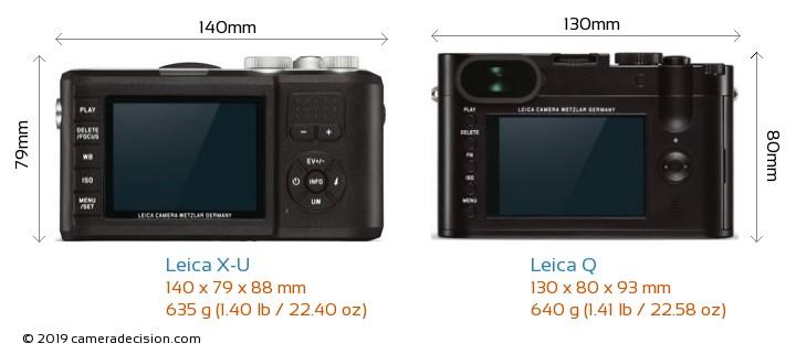 Leica X-U vs Leica Q Camera Size Comparison - Back View