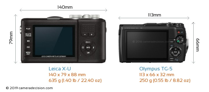 Leica X-U vs Olympus TG-5 Camera Size Comparison - Back View