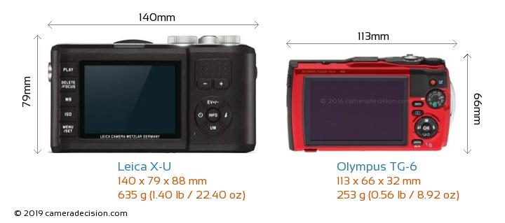 Leica X-U vs Olympus TG-6 Camera Size Comparison - Back View
