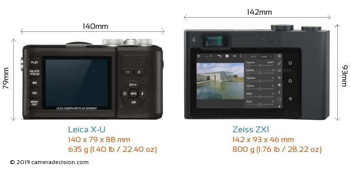 Leica X-U vs Zeiss ZX1 Camera Size Comparison - Back View