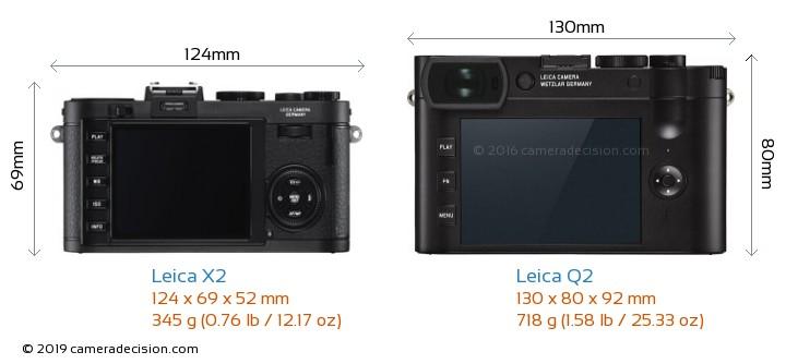 Leica X2 vs Leica Q2 Camera Size Comparison - Back View