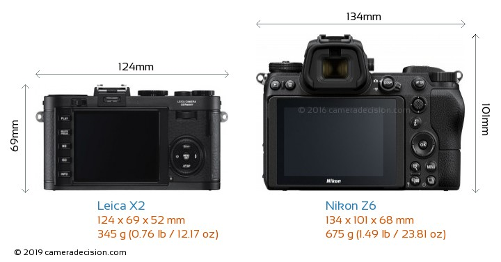 Leica X2 vs Nikon Z6 Camera Size Comparison - Back View