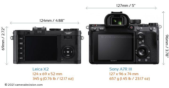 Leica X2 vs Sony A7R III Camera Size Comparison - Back View