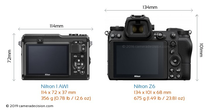 Nikon 1 AW1 vs Nikon Z6 Camera Size Comparison - Back View