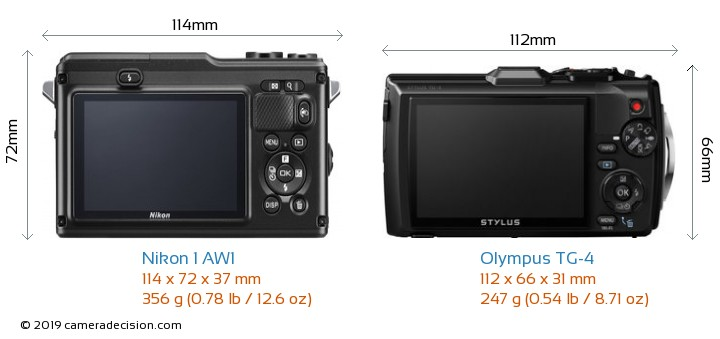 Nikon 1 AW1 vs Olympus TG-4 Camera Size Comparison - Back View