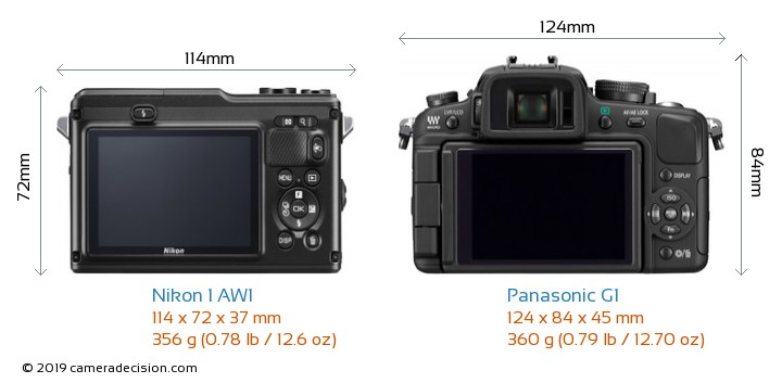 Nikon 1 AW1 vs Panasonic G1 Camera Size Comparison - Back View