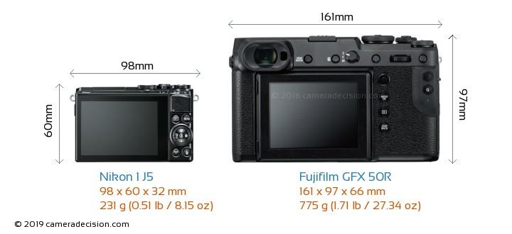 Nikon 1 J5 vs Fujifilm GFX 50R Camera Size Comparison - Back View