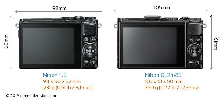 Nikon 1 J5 vs Nikon DL24-85 Camera Size Comparison - Back View
