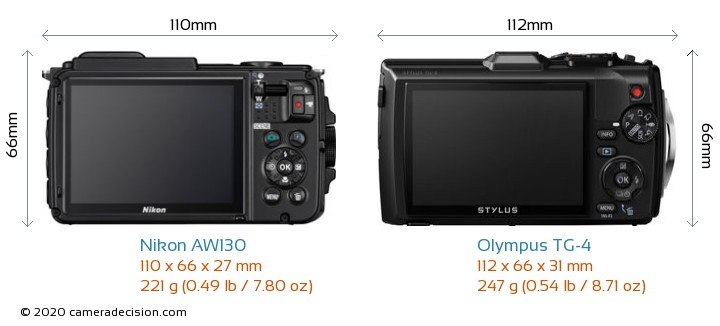 Nikon AW130 vs Olympus TG-4 Camera Size Comparison - Back View