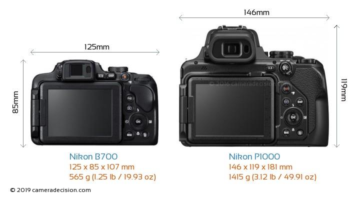 Nikon B700 vs Nikon P1000 Camera Size Comparison - Back View