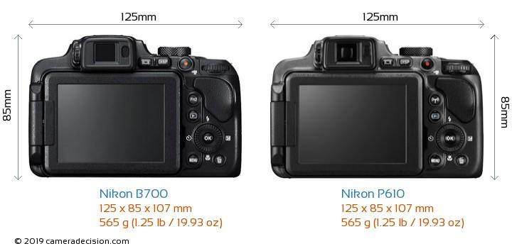 Nikon B700 vs Nikon P610 Camera Size Comparison - Back View