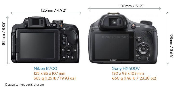 Nikon B700 vs Sony HX400V Camera Size Comparison - Back View