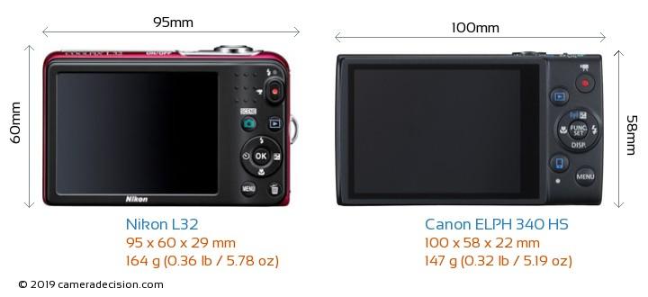Nikon L32 vs Canon ELPH 340 HS Camera Size Comparison - Back View