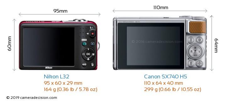 Nikon L32 vs Canon SX740 HS Camera Size Comparison - Back View