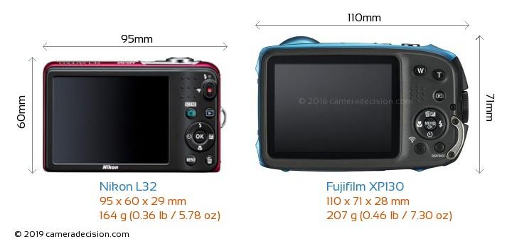 Nikon L32 vs Fujifilm XP130 Camera Size Comparison - Back View
